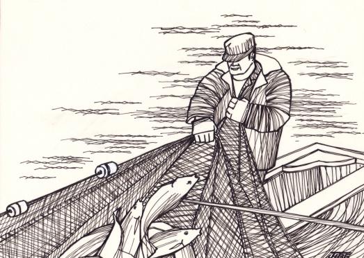un pêcheur et barque