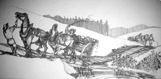 DessinG Chevaux traversant rivière - copie